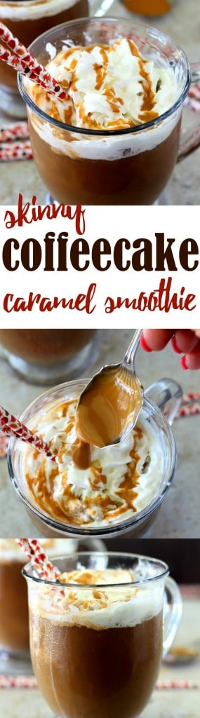 This Skinny Caramel Coffee Cake Frappuccino is the perfect creamy, caffeine-packed, dairy-free morning pick-me-up!