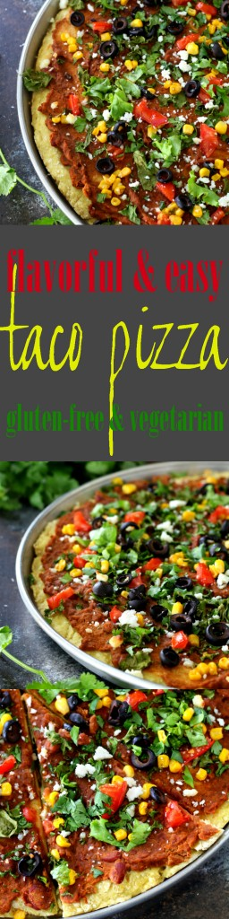 Lots of yummy flavor in this Gluten-Free Taco Pizza! All of your favorite taco ingredients combine atop a gluten-free pizza crust for an amazing dinner!