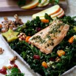 Fall Kale Salad with Garden Pesto Salmon