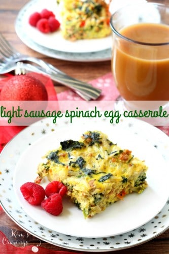 This Light Sausage Spinach Egg Casserole is the perfect make-ahead breakfast to enjoy Christmas morning. Comforting and flavorful, this dish will fuel all that gift-giving!