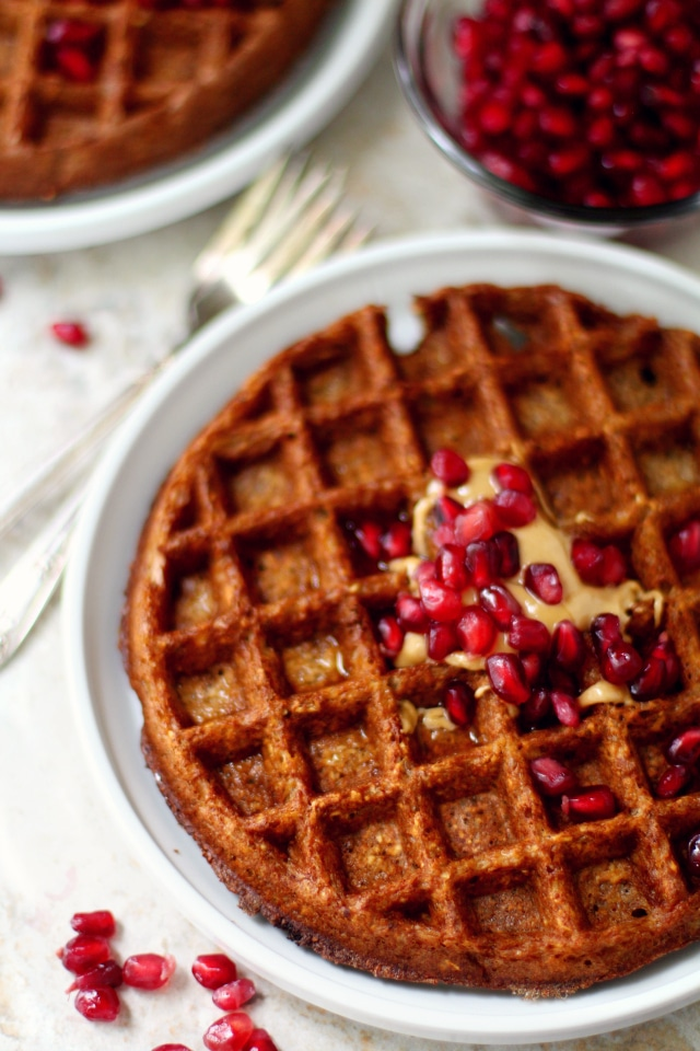 These flourless gingerbread waffles or pancakes are like your favorite Christmas cookies, but in breakfast form. (#YAY) They're sweetened with molasses, generously spiced with ginger and cinnamon, oil and refined sugar-free and naturally gluten-free dairy-free.