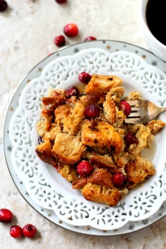 This Cranberry Orange French Toast Bake is my go-to recipe for holiday and weekend brunches. It never fails to impress and is super easy to prepare. (gluten-free & dairy-free)