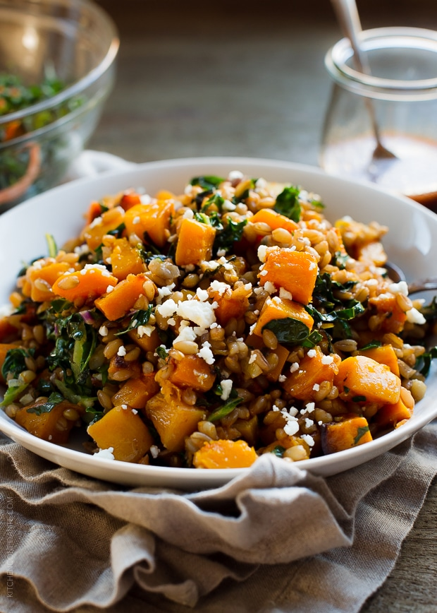 Roasted Butternut Squash Winter Salad with Kale, Farro | www.kit