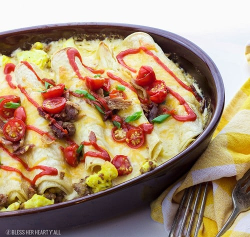 Gluten-Free Breakfast Enchiladas- these enchiladas will wake anyone's taste buds up for the day!