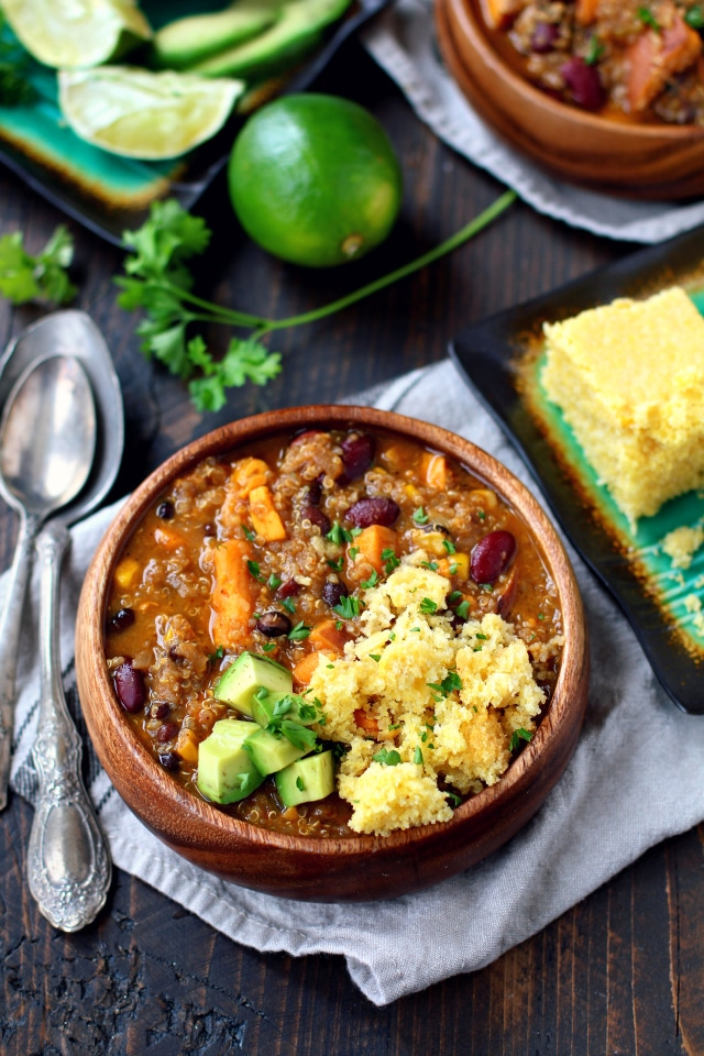 A mouthwatering blend of flavors in the best ever vegan quinoa chili - the perfect bowl of comfort and yumminess that you can enjoy guilt-free!