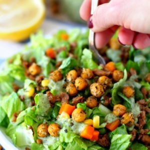Mixed Veggie Chickpea Salad With Vegan Avocado Ranch Dressing