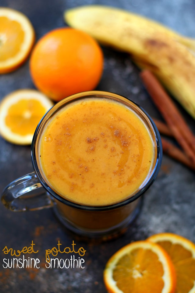 Sweet Potato Sunshine Smoothie- a simple wintery mix, packed with creaminess, vibrance, nutrients and a whole lot of yum!