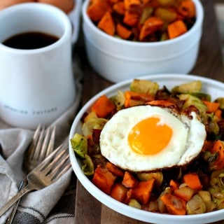 Breakfast Hash with Sweet Potato, Brussels Sprouts, Apple and Fried Egg