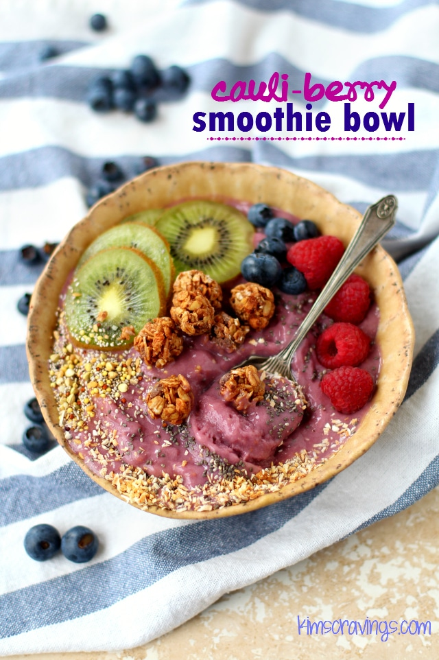 Cauli-Berry Smoothie Bowl - if you like smoothies, you will love this creamy and dreamy smoothie bowl! Eat with a spoon and top with your favorite toppings!