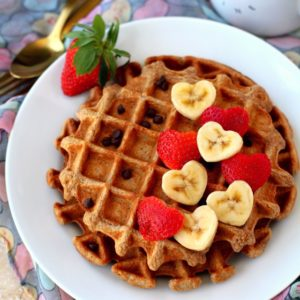 Flourless Strawberry Oatmeal Waffles