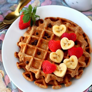 Flourless Strawberry Oatmeal Waffles