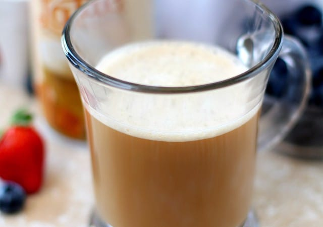 You guys are going to adore this hot, frothy, easy at-home latte! It's sure to give you that special pick-me-up just when you need it most!