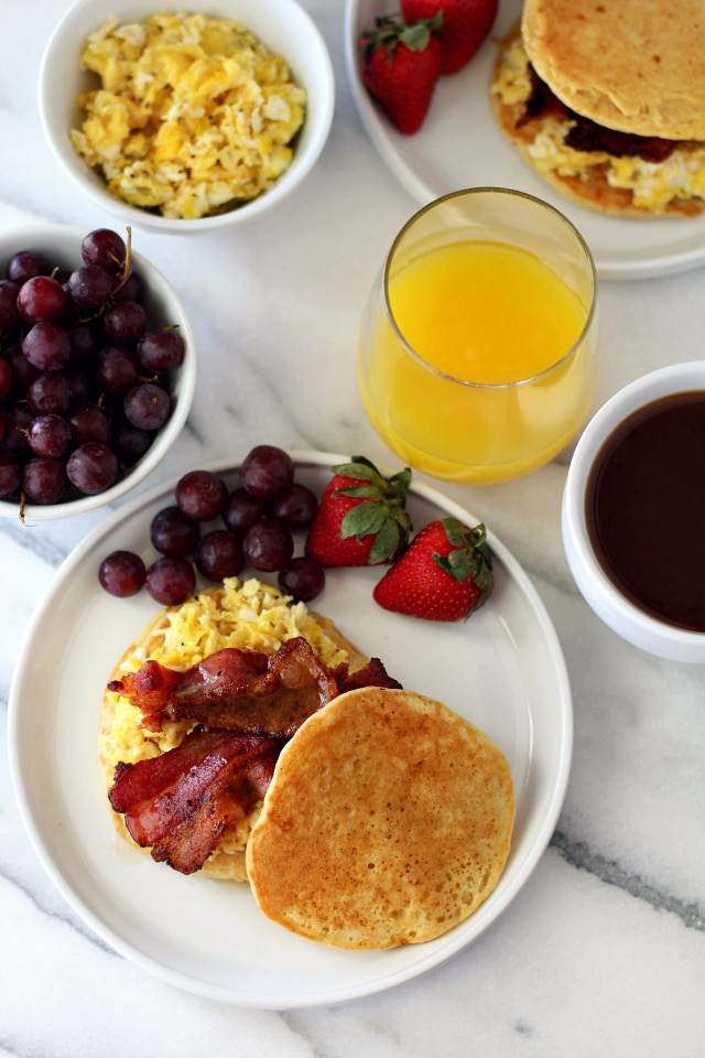 Panwiches (Pancake Sandwiches) recipe from Betty Crocker  |Bacon Pancakes Sandwich