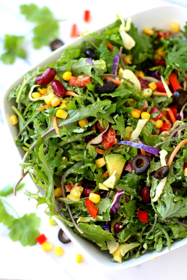 Southwestern Kale Salad with Creamy Avocado Dressing - Kim ...