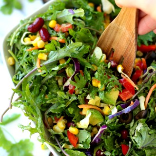 Southwestern Kale Salad with Creamy Avocado Dressing