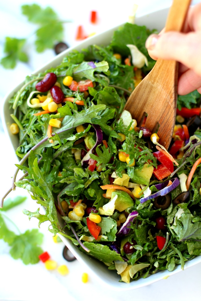 Southwestern Kale Salad with Creamy Avocado Dressing - healthy, crunchy and loaded with delicious flavor. Totally, an avocado-lovers DREAM!