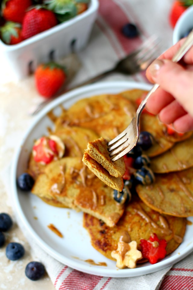 The best coconut flour pancakes ever - made from healthy, filling, nutritious ingredients to satisfy your urge to stack, drizzle and eat without all the sugar and refined flour! {paleo & gluten-free}