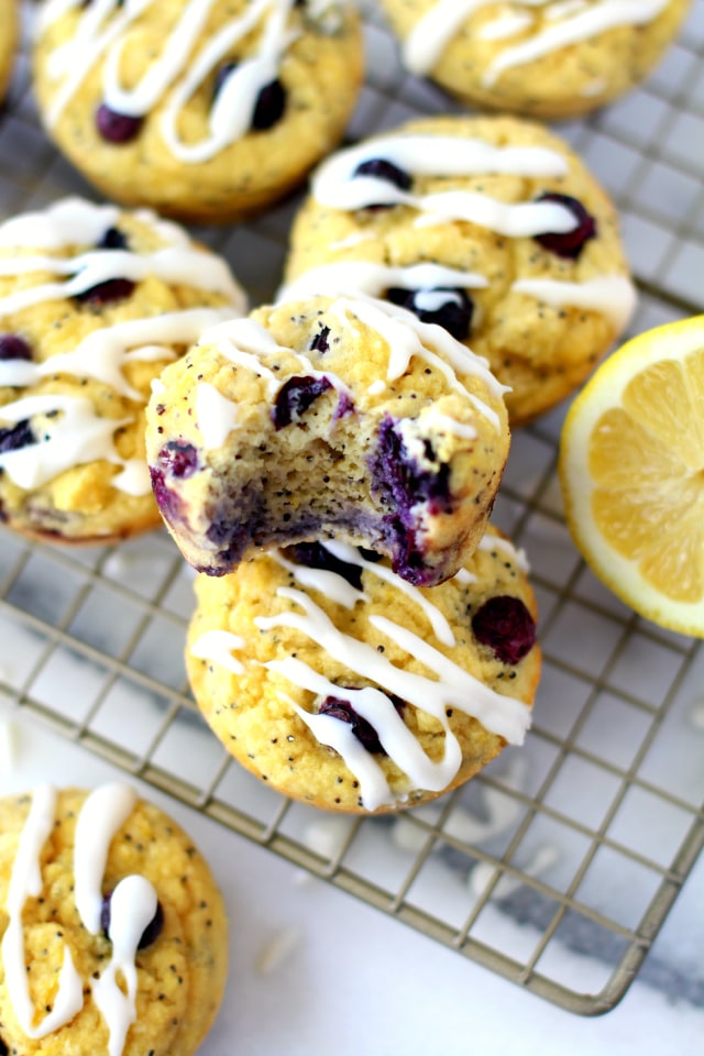 Paleo Lemon Blueberry Muffins - Moist and flavorful healthy blueberry muffins that are made without refined sugar or butter. No one will ever be able to tell that these muffins are better for you!