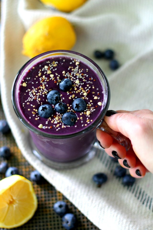 Cool, creamy and ridiculously refreshing - skip the muffin and enjoy this antioxidant-rich, delicious Lemon Blueberry Muffin Protein Smoothie instead! {gluten-free & vegan}