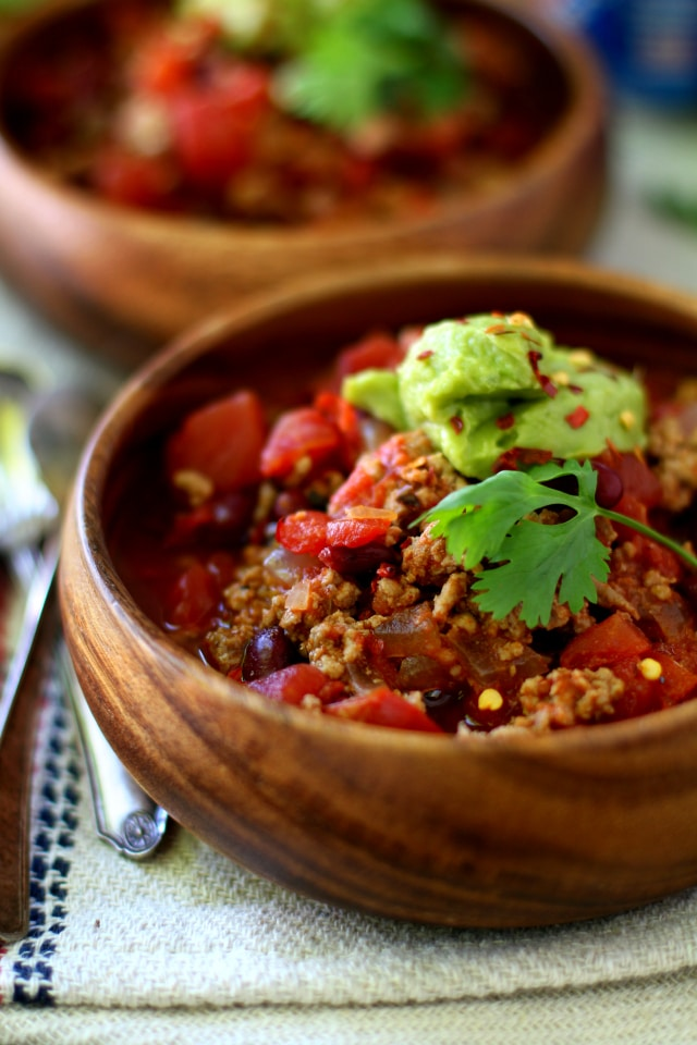 This Easy Chipotle Turkey Chili is hearty, healthy, with a kick of spice! Gluten-free, paleo-friendly and made with simple ingredients you probably already have on-hand.