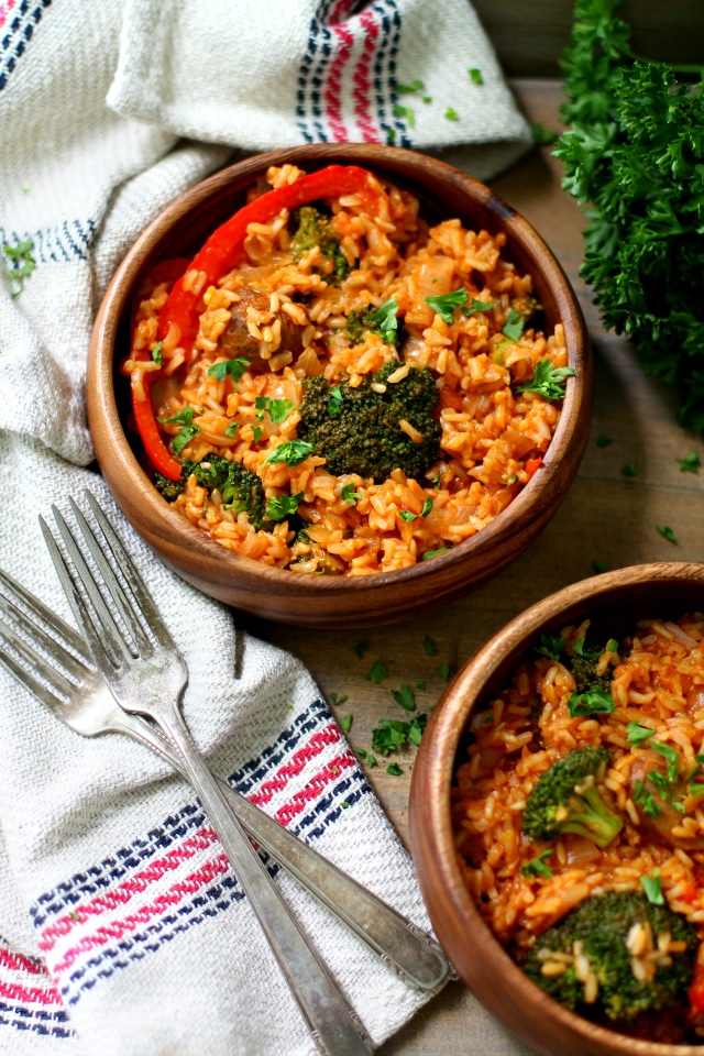Easy Sausage Rice Skillet Meal is a hearty dish you can make in just one pot with very little hands on time! It's packed with flavor and guaranteed to satisfy!