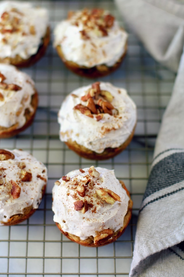 Scrumptious Paleo Carrot Cake Cupcakes that are super moist, super flavorful and actually healthy! This recipe is going to blow you away!