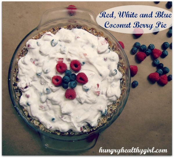 Red, White and Blue Coconut Berry Pie {vegan, gluten free and paleo} from Hungry Healthy Girl
