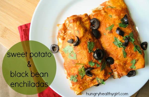 Healthy Sweet Potato & Black Bean Enchiladas with homemade enchilada sauce (vegan & gluten free)