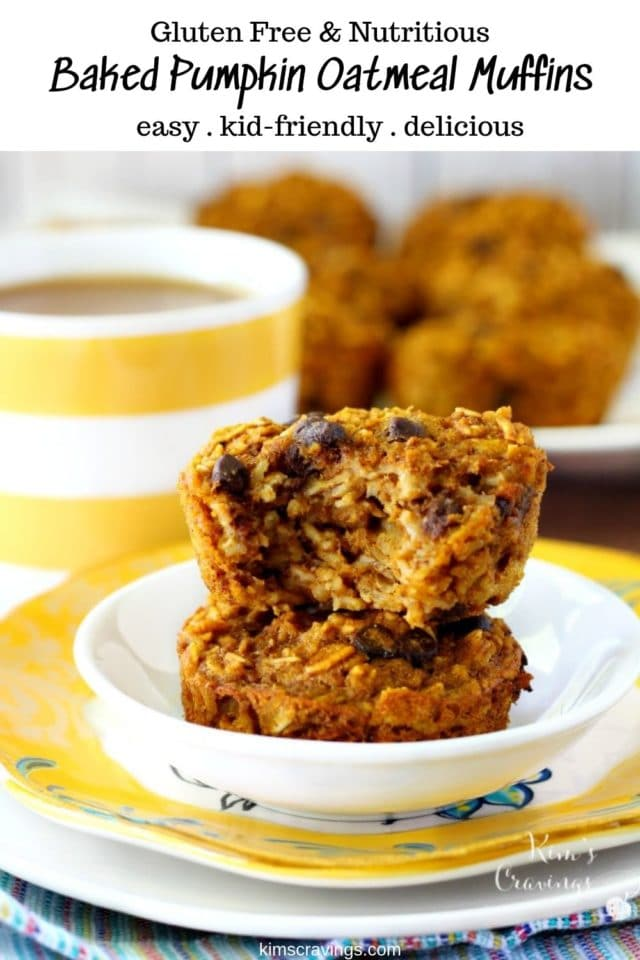 baked pumpkin oatmeal muffins stacked on a small white plate and served with coffee