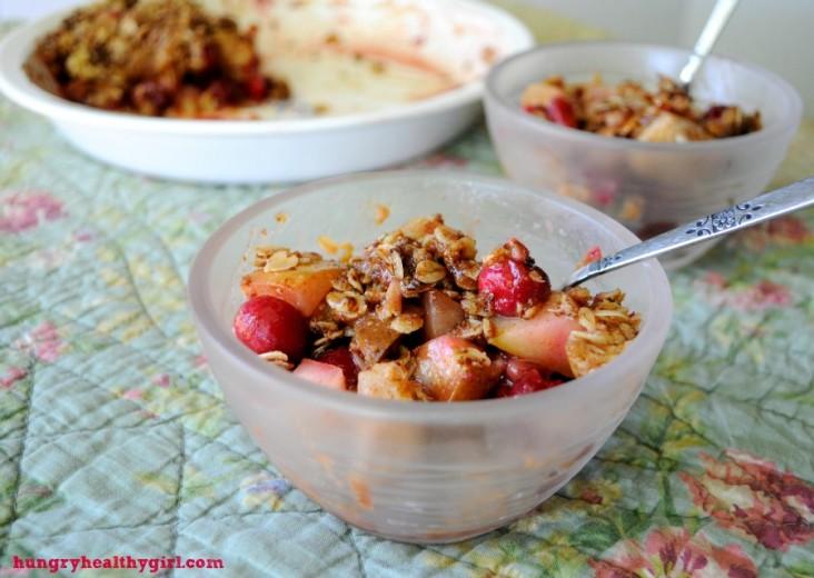 Healthier Cranberry Pear Crisp