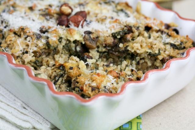 Mushroom Spinach Brown Rice Casserole