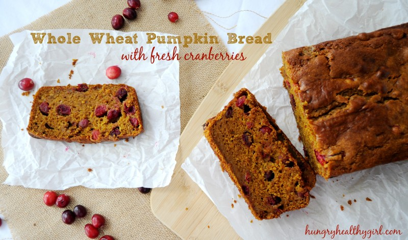Whole Wheat Pumpkin Bread with fresh cranberries | Hungry Healthy Girl