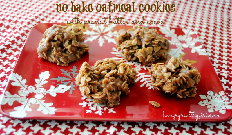 no bake oatmeal cookies with peanut butter and cocoa | Hungry Healthy Girl