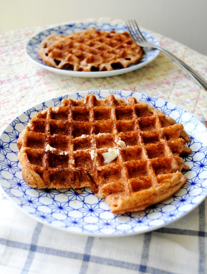 Super easy, yummy and fairly healthy snickerdoodle waffles | Hungry Healthy Girl