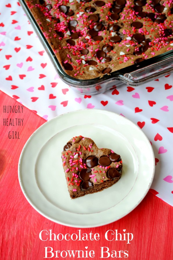 Heart-Shaped Chocolate Chip Brownie Bars for your Valentine! | Hungry Healthy Girl