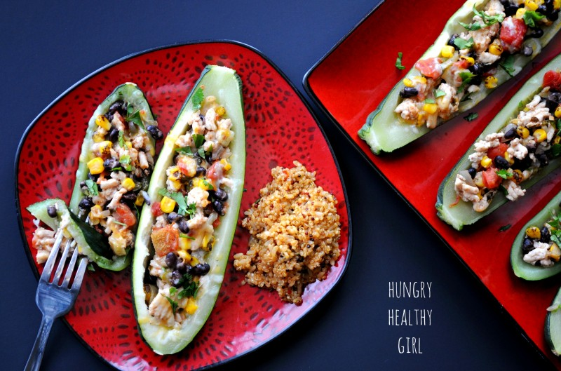 Santa Fe Zucchini Boats- A low-calorie, low-carb, delicious meal!