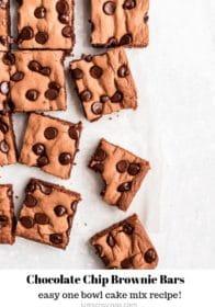 sliced chocolate chip brownie bars