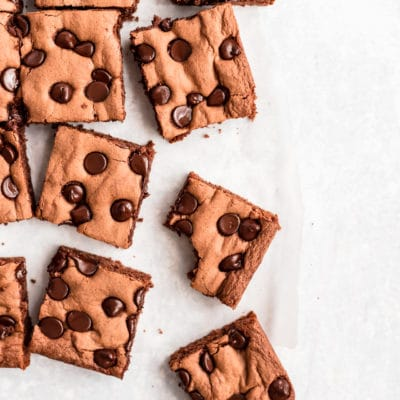 brownies topped with chocolate chips