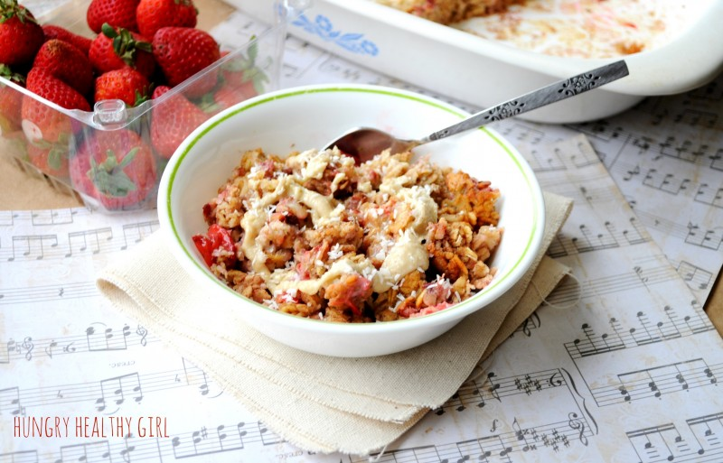 Strawberry Cheesecake Baked Oatmeal- A great make ahead breakfast with a lovely strawberry cheesecake flavor.