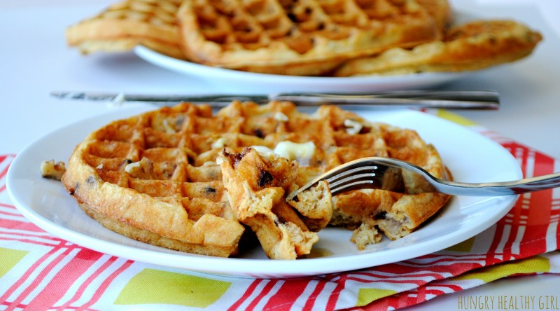 Heart Healthy Whole Wheat Chocolate Chip Banana Waffles