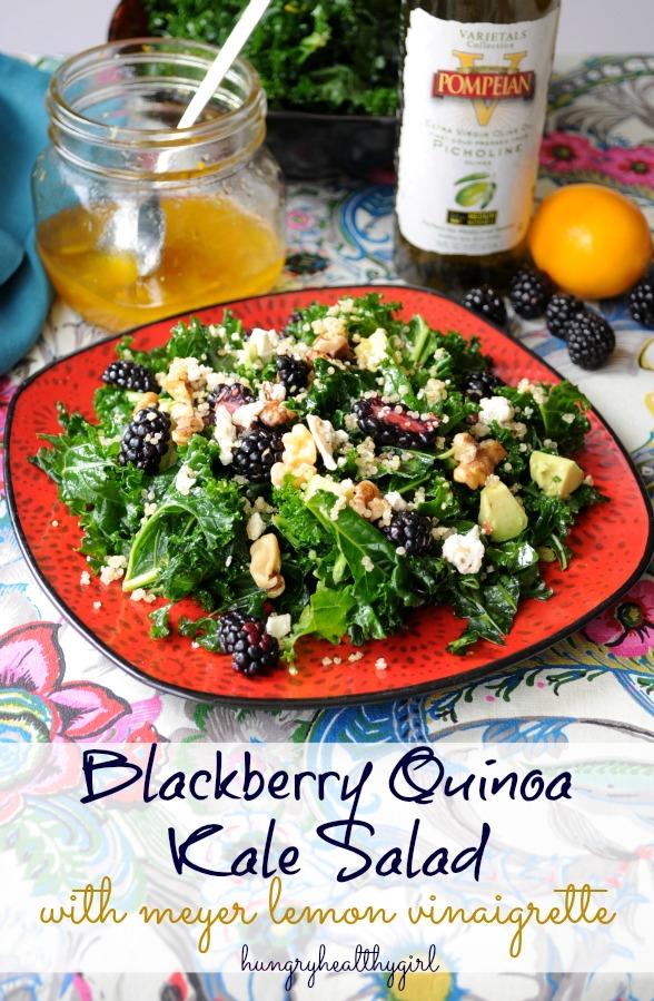Blackberry Quinoa Kale Salad with Meyer Lemon Vinaigrette- bursting with flavor and antioxidants!