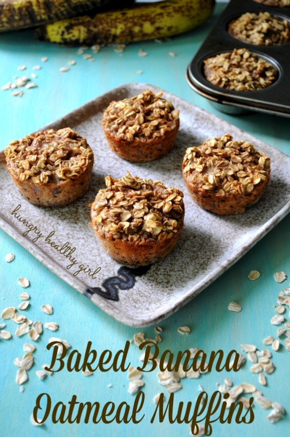Baked Banana Oatmeal Muffins- less than 100 calories per muffin and absolutely delicious!