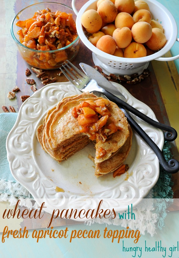 Wheat Pancakes with Fresh Apricot Pecan Topping- The lovely sweet, slightly tart flavor of fresh apricots are the perfect compliment to these light and healthy wheat pancakes.