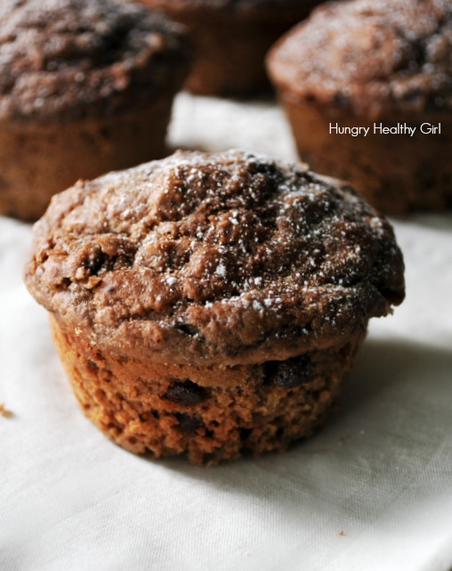 Double Chocolate Whole Wheat Muffins- A lightly sweetened scrumptious chocolate muffin, that's surprisingly healthy, made with good-for-you ingredients!