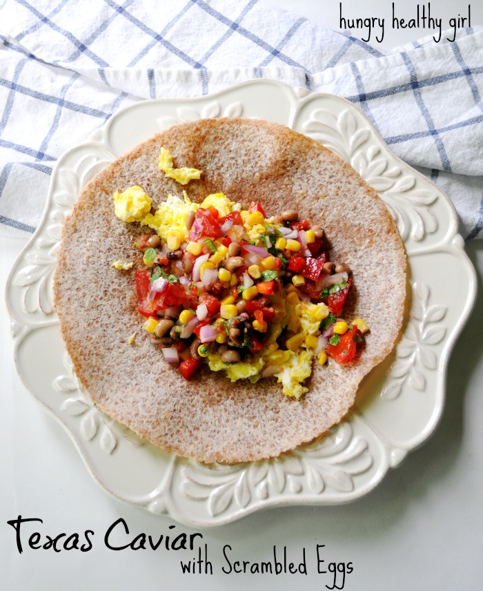 Texas Caviar with scrambled eggs