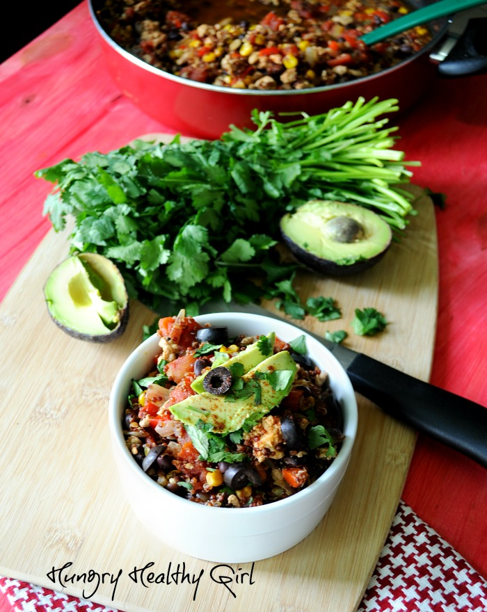 Southwestern Turkey Quinoa Skillet- The perfect meal for busy weeknights!
