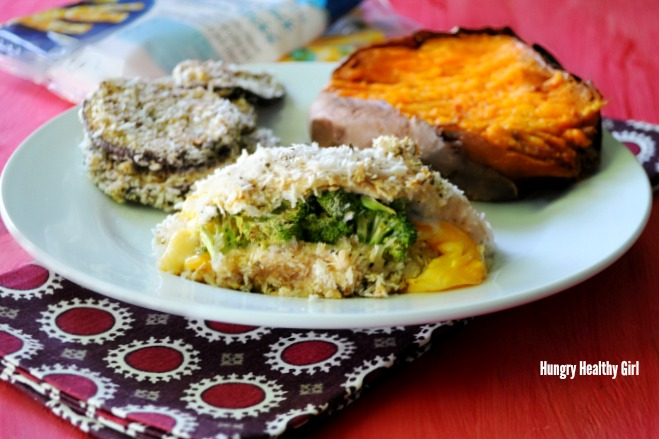 Stuffed Broccoli Cheese Chicken- healthy, protein-packed, delicious meal idea. #AD #WWSnackIt