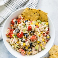 Cottage Cheese Tuna Salad in a white bowl served with tortilla chips
