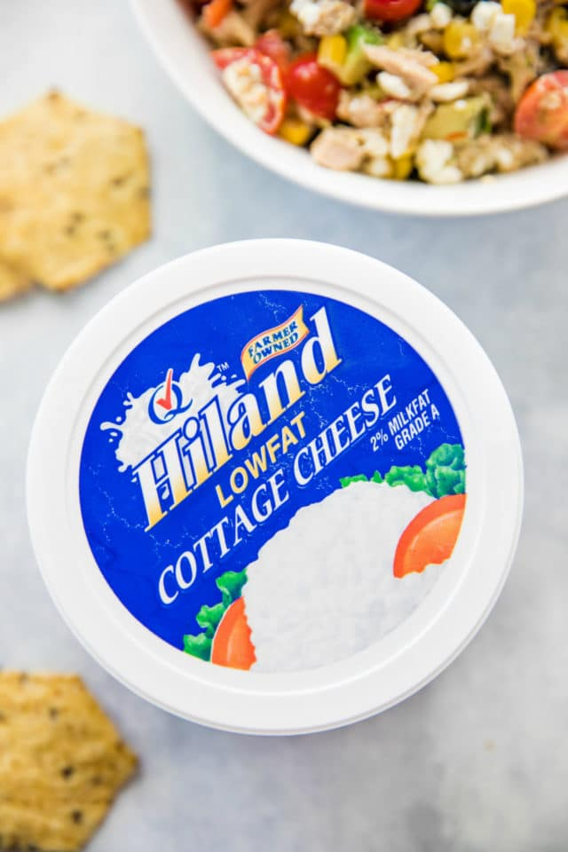container of Hiland low-fat cottage cheese