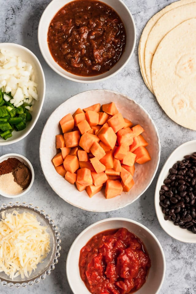 sweet potato, black beans and other ingredients for enchilada casserole